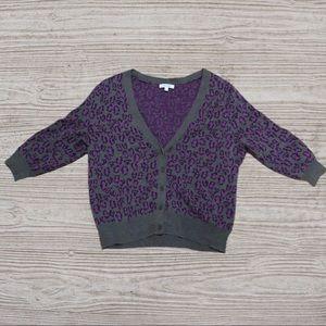 DELIA'S Purple Leopard Print Cardigan XL